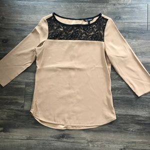 Express Tan and Black Lace Blouse XS